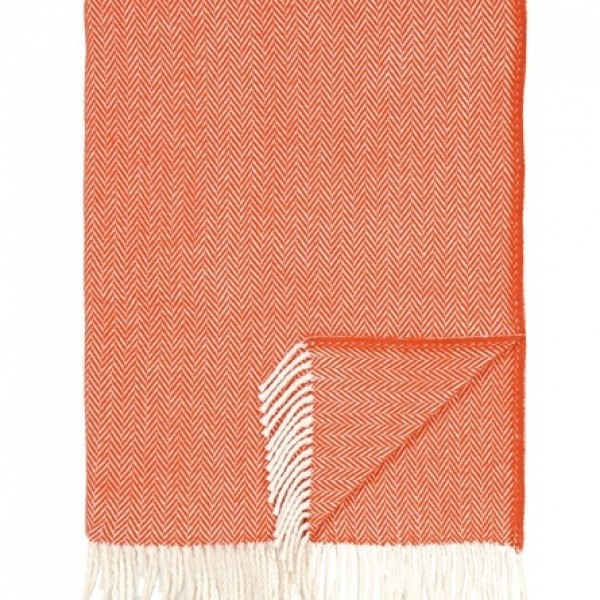 Tangerine Herringbone Throw