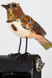 Upcycled Songbird on Vintage Camera Details