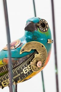 Mixed Media Songbird on Vintage Opera Glasses Details
