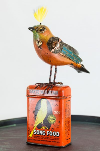 Upcycled Songbird on Seed Can