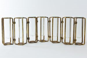 Antiqued Gold Hinged Flower Vases