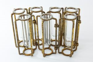 Antiqued Gold Hinged Flower Vases Details