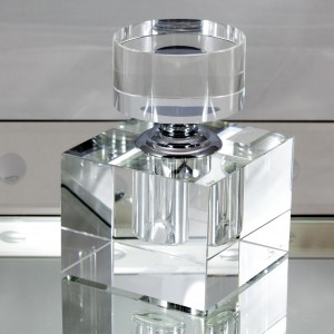 Reusable Glass Perfume Bottle Cube Close
