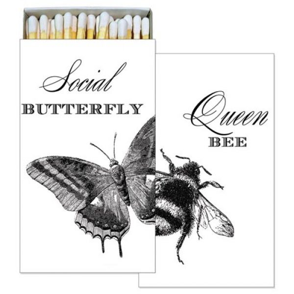 Social Butterfly Queen Bee Wood Stick Matches