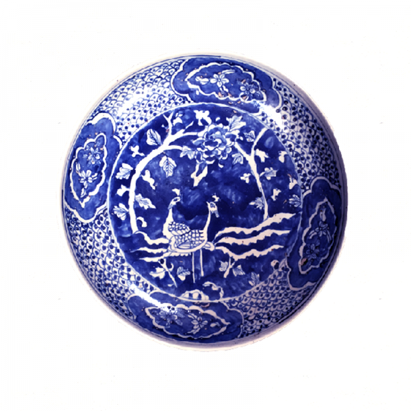 Large Blue and White Porcelain Peacock Plate