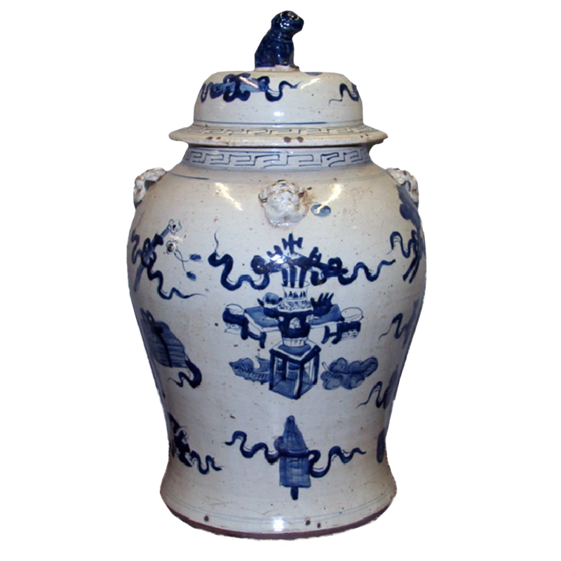 Large Blue And White Porcelain Temple Jar Collage Home
