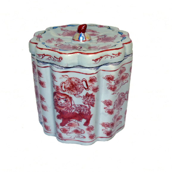 Porcelain Foo Dog Tea Jar