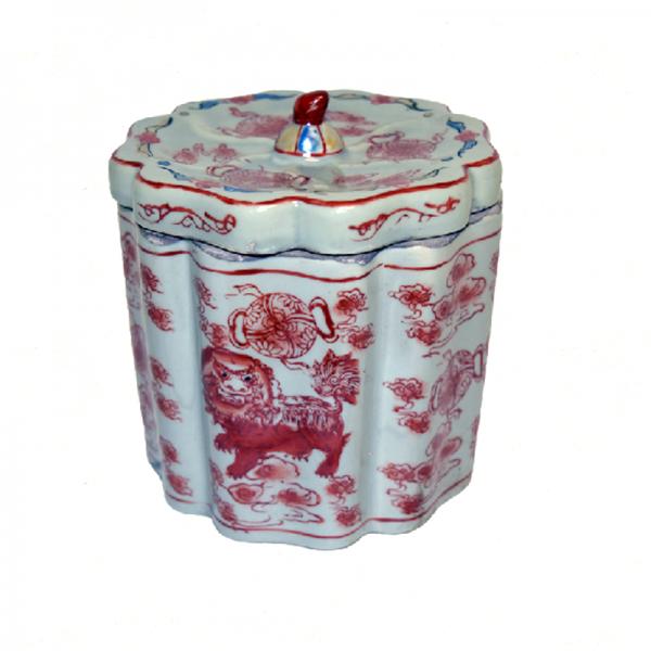 Porcelain Foo Dog Tea Jar