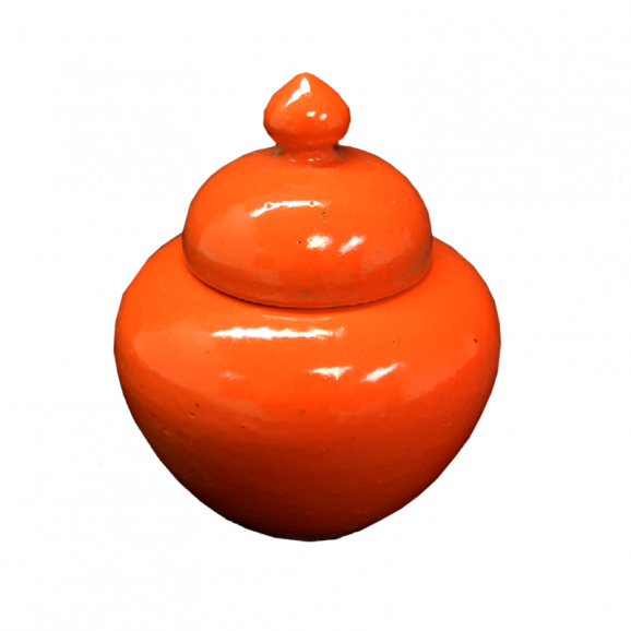 Small Round Orange Porcelain Jar