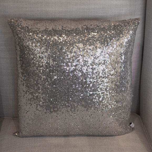 Silver Sequined Throw Pillow
