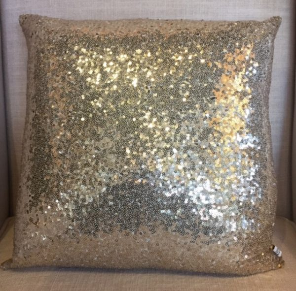 Gold Sequined Throw Pillow