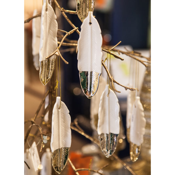 Silver Dipped Feather Ornament