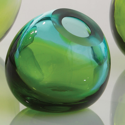 Green Ombre Glass Orb Vase