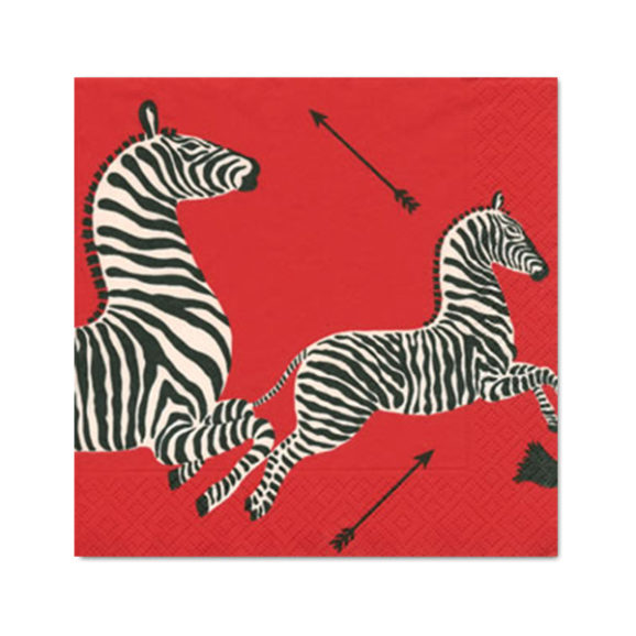 Caspari Scalamandre Red Zebra Cocktail Napkins