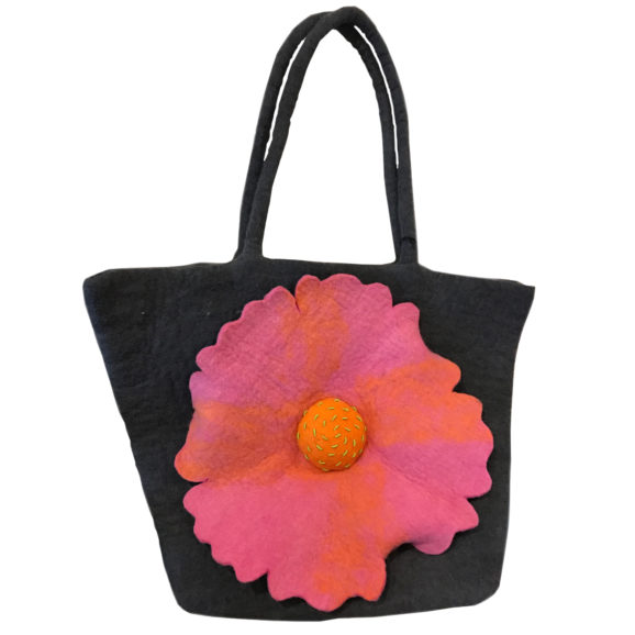 Pink Poppy Felt Bag