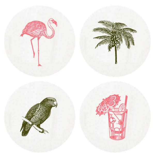 Letterpressed Coasters Tropical