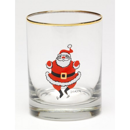 Dancing Santa Old Fashioned Glass Set